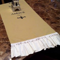 My french wedding table runners :) possibly adding lace!