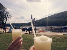 frozen margaritas by a lake