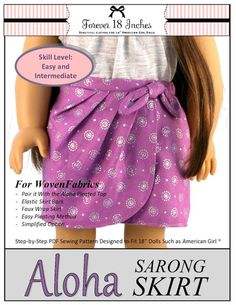 Forever 18 Inches Aloha Sarong Skirt Doll Clothes Pattern 18 inch American Girl Dolls | Pixie Faire