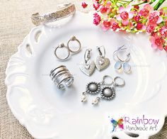 Handmade jewelry and more! Handmade Rings, Handmade Art, Handmade Jewelry, Rainbow, Pearls, Bracelets, Earrings, Silver, Rain Bow
