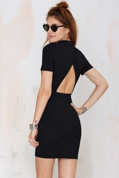 Nasty Gal Whatcha Gonna Do Ribbed Dress - Black | Shop Clothes at Nasty Gal!