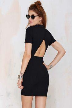 xoxo cutout back high neck dress