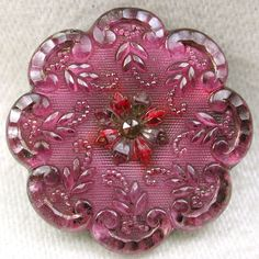 Antique Lacy Glass Button w Scallop Edge Violet Color Floral Gorgeous! 1 & 1/8""
