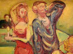 """BERNARD Emile,1887 - Au Cabaret (Orsay) - Detail 12  -  TAGS/ art painters peintres details détail détails detalles painting paintings peintures """"peintures 19e"""" """"19th-century paintings"""" tableaux Museum Paris France women woman fille girl girls """"jeune femme"""" """"young woman"""" """"young women"""" drink danse dance nightclub  night nuit dancer courtesan buveurs drinkers bottle bouteille verres glass man men hommes people fête feast auberge inn couple lovers amoureux amour love sultry sensual erotism…"""