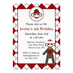 Sock Monkey Birthday Party Invitations Argyle Pattern