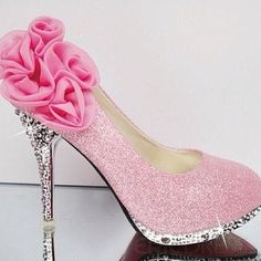 Pretty-N-Pink Diamond Bottom Heels #MJB ---- Would be better if the flower thing wasn't on the back
