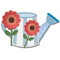 Watering Can with Flowers Applique - 5x7 | Floral - Flowers | Machine Embroidery Designs | SWAKembroidery.com Embroidershoppe