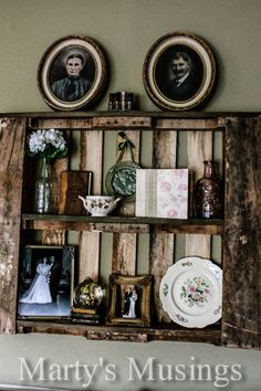 Decorate with Pallet Shelves.  Won't fit with all home styles but what a wonderful fit in a rustic home or a summer cabin.