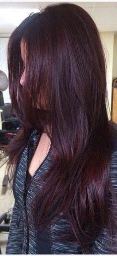 Ideas Hair Color Ideas For Brunettes Burgundy Red Haircuts hair 432134526744824966 Hair Color Purple, Hair Color And Cut, Burgundy Colour, Red Burgundy, Red Colour, Dark Brown Purple Hair, Hair Colors, Highlights Curly Hair, Black Hair With Red Highlights