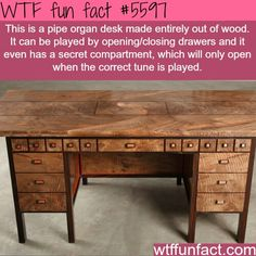 Related Post Solid wood desk artistically created by Nico Yekta. Celine Desk Astonishing in every detail Marc Fish Le Orchidee . Pipe organ desk by Kagen Schaefer Cartesia Desk Tamo … Wow Facts, Wtf Fun Facts, Funny Facts, Random Facts, Useless Knowledge, Weird But True, Secret Compartment, Cool Inventions, The More You Know
