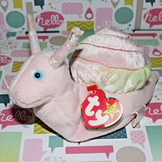 61ac19686fe TY BEANIE BABY SWIRLY THE SNAIL PINK PLUSH STUFFED ANIMAL 1999 TAG ATTACHED   Ty Beanie