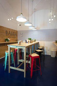 BARBA Restaurant on Behance bar stools, restaurant design, restaurant inspiration, food spaces