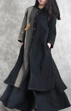 2018 black patchwork linen two pieces asymmetric shirt and wide leg pants Stylish Tops, Casual Tops, Smart Casual, Long Linen Dresses, Cotton Dresses, Plus Size Casual, Kurta Designs, Black Linen, Two Pieces