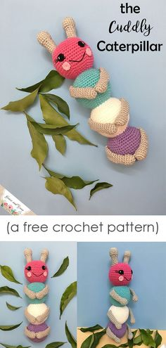 The Cuddly Caterpillar - A Free Amigurumi Crochet Pattern - women Life ideas Crochet Amigurumi Free Patterns, Crochet Dolls, Crochet Yarn, Crochet Gifts, Cute Crochet, Crochet Designs, Crochet Projects, Textiles, Colorful