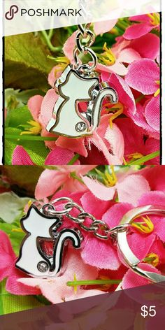Mini?White Cat Purse Jewelry/Keychain Charm Collec Mini?White Cat Purse Jewelry/Keychain Charm Collection  Mini?White Cat Purse Jewelry/Keychain Charm Collection... The newest craze Jewelry & Charms for your purse. Start your? collection today!!? . Material: Metal & Rhinestone . Size :key ring: 30mm ?? Cat?20mm*23mm? . 28K . Jewelry