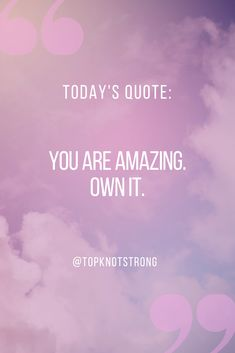 You are amazing and you should own that. You are working hard to achieve your goals and it won't go unnoticed. Bodybuilding Motivation Quotes, Bikini Competitor, You Are Amazing, Working Hard, Daily Reminder, Top Knot, First Time, Motivational Quotes, Goals