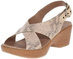 Dansko Women's Jacinda Taupe Snake Wedge Sandal, 36 EU/5.5-6 M US >>> You can get additional details at the image link.