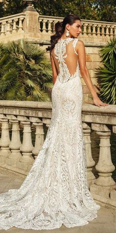 country style lace wedding dresses features illusion back with tattoo effect