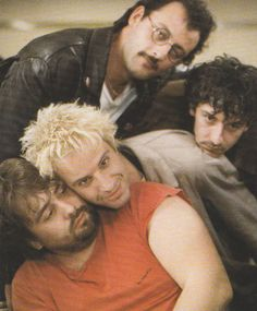 Luc Besson, Christopher Lambert, Jean Reno and Jean-Hugues Anglade on set of Subway (1986)