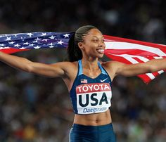 Allyson Felix win Gold! USA Track