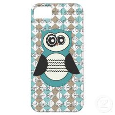 Blue and Brown I heart Owls iphone 5 Case