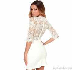 Eyelash Lace Stitching Sexy See-through Back Middle-length Sleeves Dress only $34.99 in ByGoods.com! #bygoods #Eyelash #Lace #Stitching #Sexy #See-through #Back #Middle-length #Sleeves #Dress