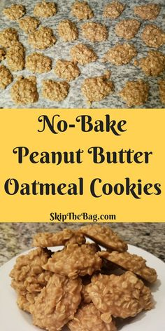When The Urge Strikes: No-Bake Peanut Butter Oatmeal Cookies - Kuchen - Desserts Instant Oatmeal Cookies, Oatmeal No Bake Cookies, Oatmeal Dessert, Easy No Bake Cookies, Easy Cookie Recipes, Healthy Cookies, Peanutbutter No Bake Cookies, Peanut Cookies, No Bke Cookies