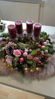 Purple Candles Add to the Holiday Feel christmas tablescapes , Purple Candles Add to the Holiday Feel Purple Candles Add to the Holiday Feel. Christmas Table Settings, Christmas Tablescapes, Christmas Candles, Christmas Centerpieces, Christmas Advent Wreath, Decoration Christmas, Christmas Crafts, Holiday Decor, Advent Candles
