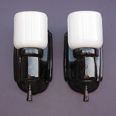 157 best vintage bathroom light fixtures images on pinterest items similar to vintage pair black porcelain bathroom wall sconces with shades on etsy aloadofball Choice Image