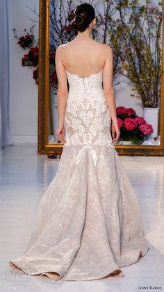 anne barge spring 2017 bridal strapless sweetheart neckline lace embellished bodice beautiful elegant fit to flare wedding dress chapel train (017) bv