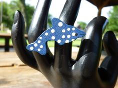 Blue Spotted Dolphin Ring by 50CentRings on Etsy