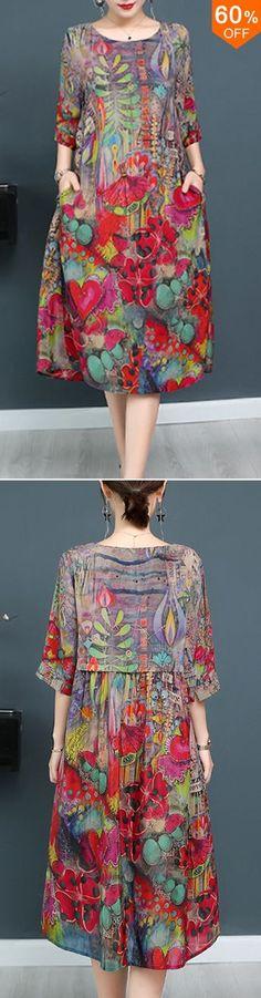 c84ed3dd8479 Plus Size Elegant Art Print Loose Dress For Women