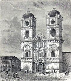 Antique print church Cusco Cuzco Peru 1861