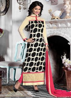 Black N Off White Hina Khan Straight Suit