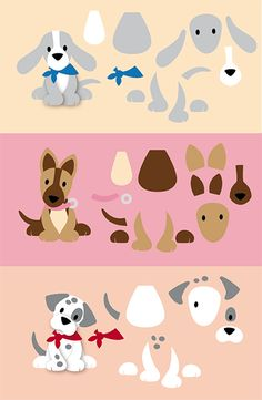 variations with schedules Puppy Crafts, Marianne Design Cards, Dog Quilts, Felt Dogs, Dog Cards, Felt Patterns, Animal Cards, Punch Art, Stuffed Animal Patterns