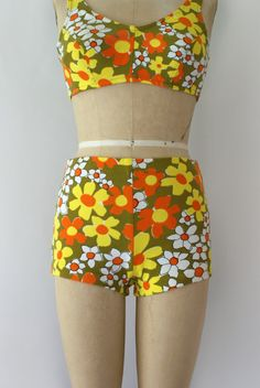 1960s Vintage Bikini 60s Boho Floral Two Piece by Sweetbeefinds