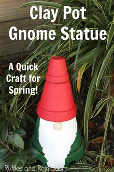 Clay Pot Gnome Statue for the Garden - Too Cute and Easy! - This is the cutest clay pot gnome craft I have ever seen! It's such a simple garden gnome statue - Clay Pot Projects, Clay Pot Crafts, Shell Crafts, Diy Clay, Flower Pot Crafts, Flower Pots, Gnome Garden, Garden Pots, Easy Garden