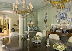 Cathy Kincaid Interiors - Dining room w/lots of china
