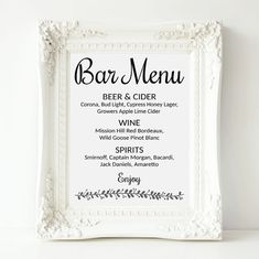 Bar Menu Sign Wedding Bar Menu Template Wedding Drinks Sign