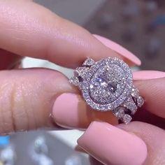 Blue Diamond Engagement Ring White Gold Diamond Ring Flower Engagement Ring Choose Your Diamond - Fine Jewelry Ideas Beautiful Wedding Rings, Best Wedding Rings, Dream Engagement Rings, Jewelry Rings, Wire Jewelry, Jewellery, Chanel Jewelry, Jewelry Storage, Pandora Jewelry