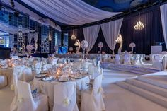 Ceilling draping in your ballroom. Wedding by Monte-Carlo Weddings.