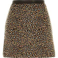Black animal print fuzzy A-line skirt £30 #riverisland
