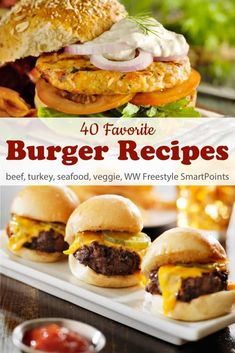 A favorite collection of 40 healthy flavorful Weight Watchers Burger Recipes - beef pork turkey chicken seafood and vegetarian - with PointsPlus and WW Freestyle SmartPoints! Turkey Feta Burgers, Pork Burgers, Hamburgers, Vegetarian Burgers, Seafood Burger Recipe, Seafood Recipes, Weight Watchers Chicken, Weight Watchers Meals, Ww Recipes