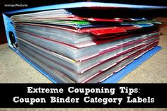 Not sure I will actually do this but...Extreme Couponing Tips Coupon Binder Category Labels