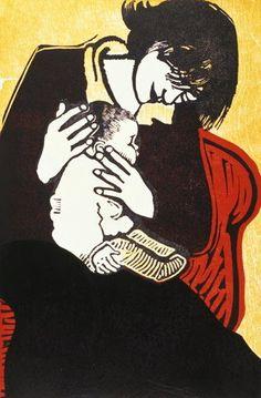 New Baby (2), 1990 (wood and linocut) by Carol Walklin - print