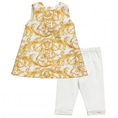 Young Versace Baby Girls Gold Baroque Dress & Leggings Set at Childrensalon.com