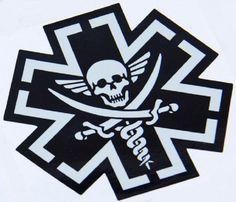 Tacmed Combat Medic EMT Skull Vinyl Decal by TacticalTextile