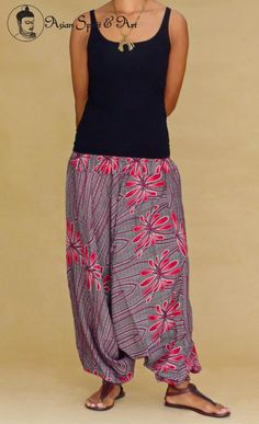 New in stock!!!! Red Floral Harem pants - Find our shop at http://stores.ebay.de/Asian-Spirit-and-Art or connect with us on facebook http://www.facebook.com/asian.spirit.art