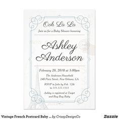 46a20eef04c Vintage French Postcard Baby Shower Invitation by CrissyDesignCo Bridal  Bingo