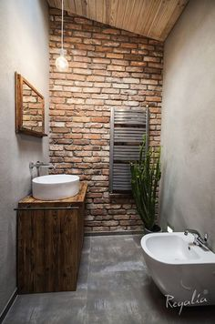 how to design printables Brick Bathroom, Small Bathroom, Brick Interior, Interior Design Living Room, Bad Inspiration, Bathroom Inspiration, Toilet Room, Toilet Design, Industrial House